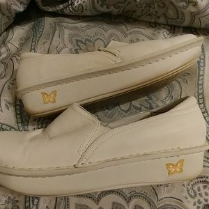 Womens White Alegria Leather  Shoes